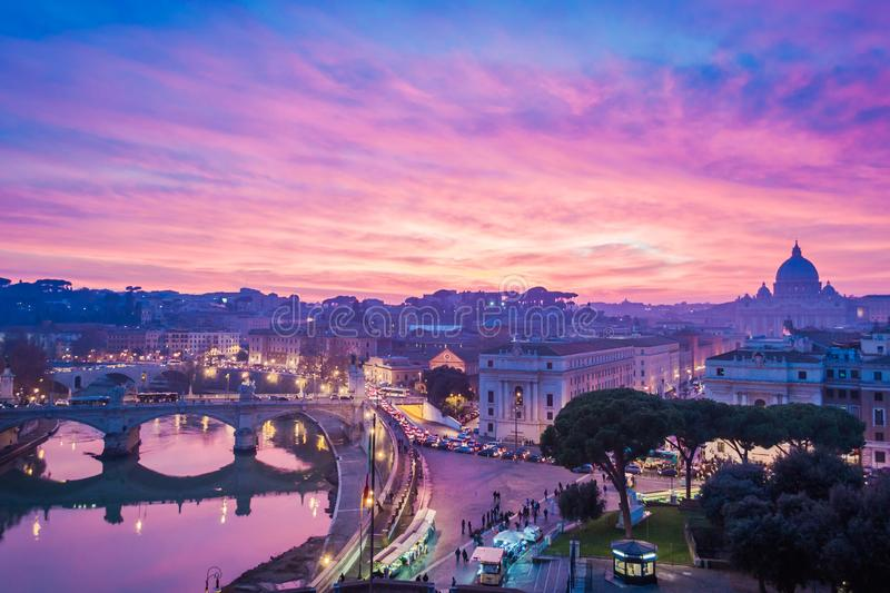 Dreamy sunset in Rome with St. Peter basilica stock photo