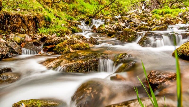 Dreamy waterfall in Scotland stock image