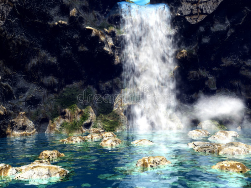 Download Dreamy Waterfall1 stock illustration. Image of ocean, ripple - 1424082