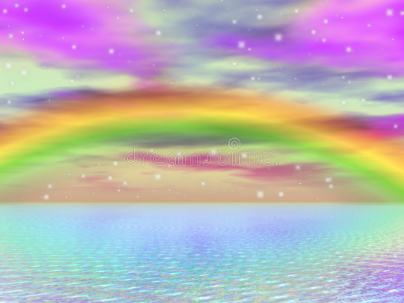Dreamy Waters 6. A digitally created image of a beautiful ocean with dreamy sparkles and a rainbow in the background stock illustration
