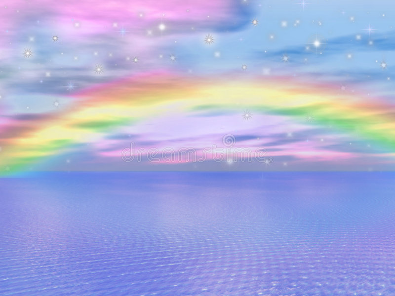 Dreamy Waters 9. A digitally created image of a beautiful ocean with dreamy sparkles and a rainbow in the background vector illustration