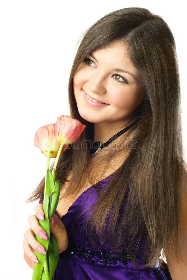 Free Dreamy Young Woman With Tulips Stock Image - 8551601