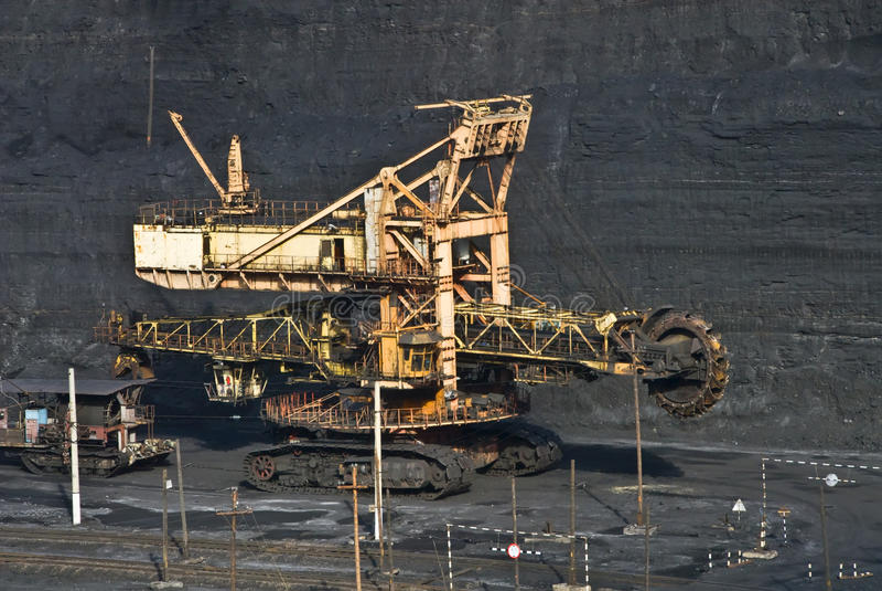 Dredge. Coal mining, dredge, mining operations stock images