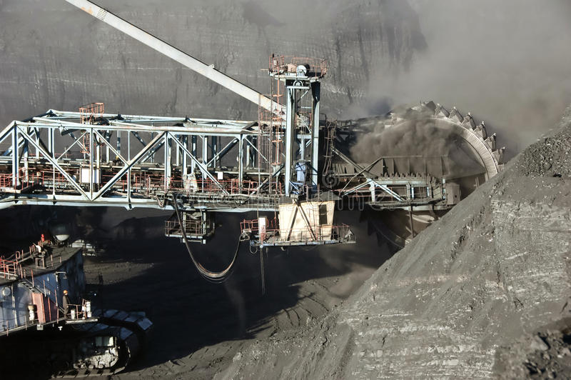The dredge. Mountain works, the coal industry stock photo