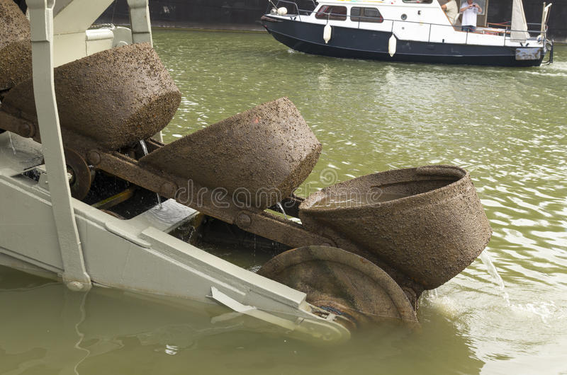 Dredge boat. Scoops at the end of a dredge boat stock image