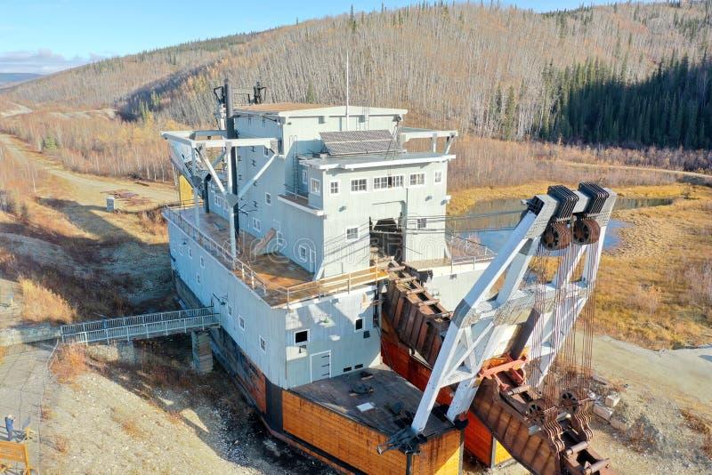 Dredge No. 4. Gold Mining Dredge No. 4 at Bonanza Creek near Dawson City in the Yukon in Canada stock image
