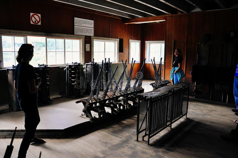 Inside Dredge No. 4 control room near Dawson City, Yukon. stock photo