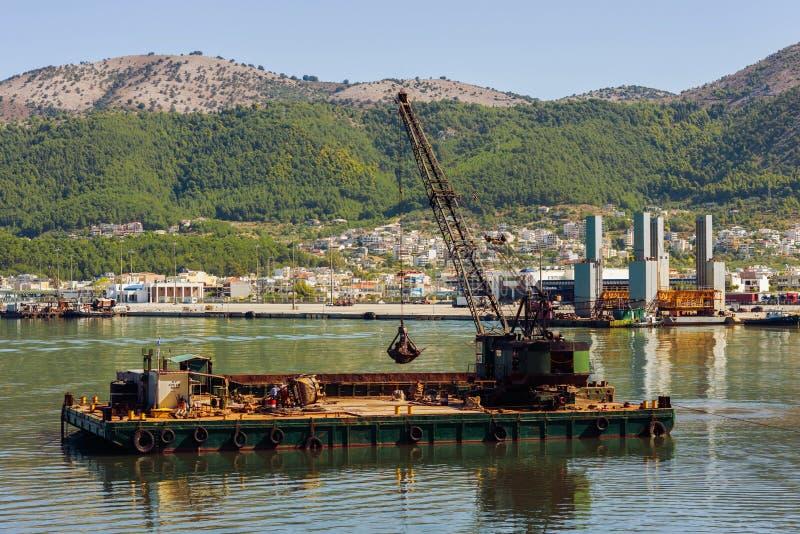 Dredge ship on the sea on the Igoumenitsa port in the Greece. Thesprotia. stock image