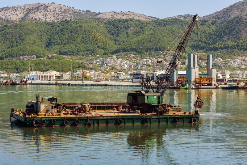 Dredge ship on the sea on the Igoumenitsa port in the Greece. Thesprotia. stock photography