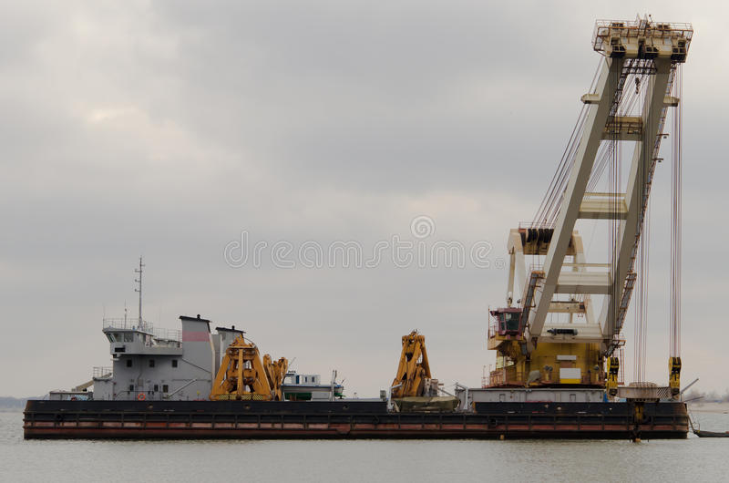 Dredger ship on the river royalty free stock image