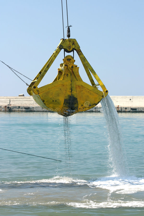 Download Dredging 1 stock photo. Image of port, unblock, silted, yellow - 35620