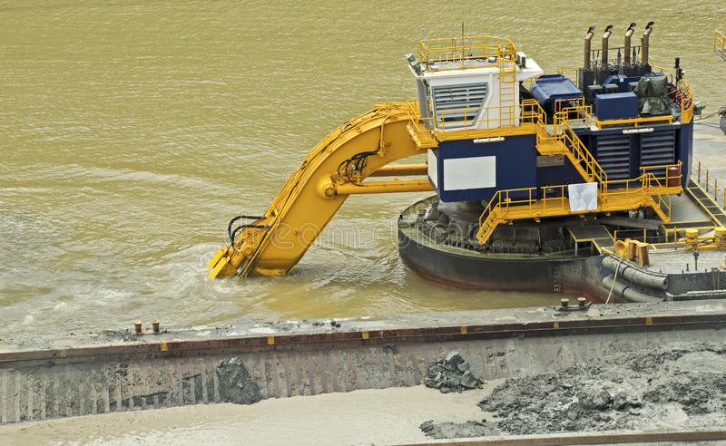 Dredging in the Panama Canal stock photography