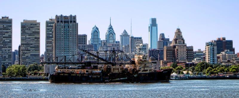 Dredging Ship on Delaware River by Philadelphia stock photo