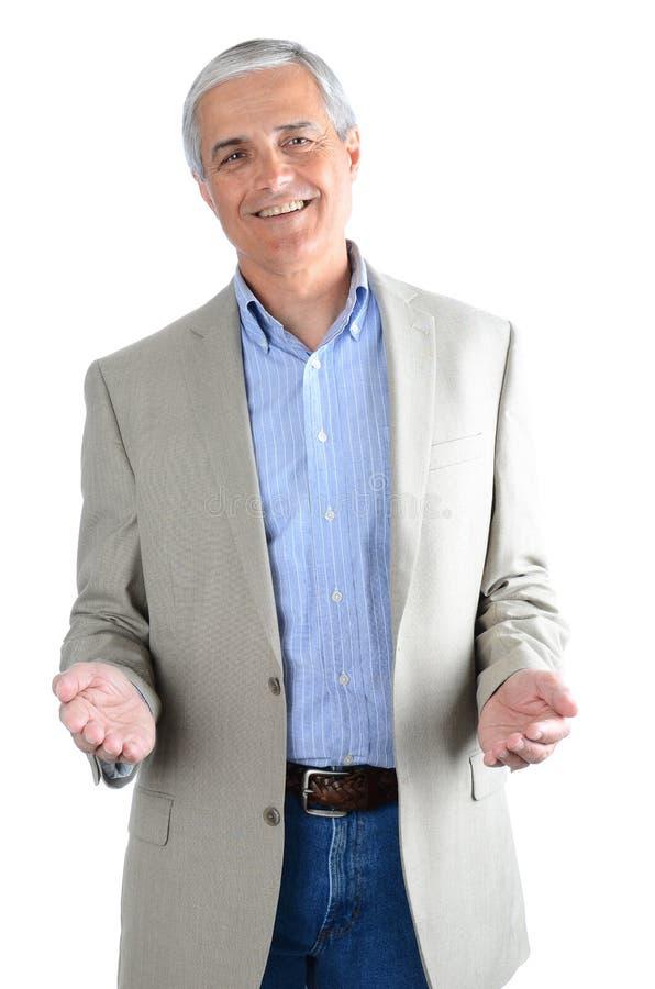 Dredssed terloops midden oude die zakenman op wit met zijn handen het gesturing wordt geïsoleerd royalty-vrije stock afbeeldingen