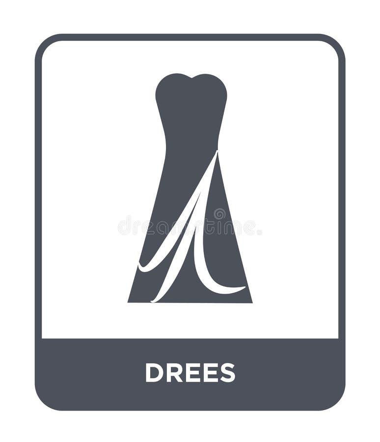 dreespictogram in in ontwerpstijl dreespictogram op witte achtergrond wordt geïsoleerd die eenvoudige en moderne vlakke symbool v royalty-vrije illustratie