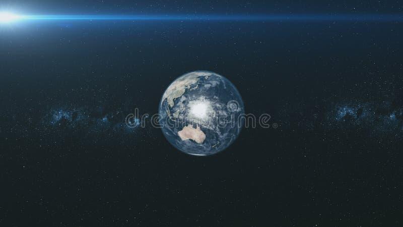 Drehbeschleunigungsumlaufbahn der erde-Meteor gl?hen sternenklarer Hintergrund lizenzfreie abbildung