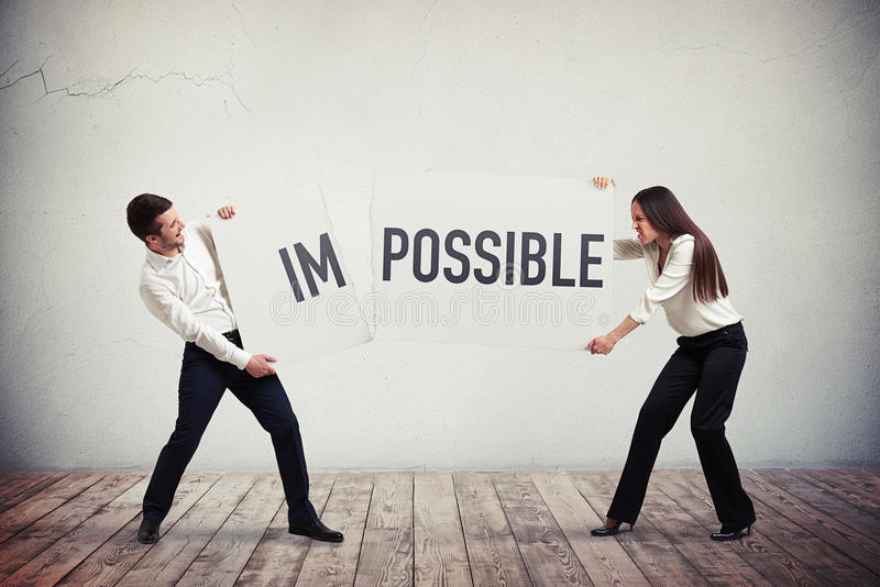 Drehendes getrenntplakat des Geschäftsmannes und der Geschäftsfrau mit einem Wort I lizenzfreie stockbilder