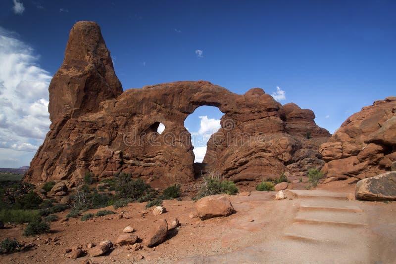 Drehkopf-Bogen am Bogen-Nationalpark Moab Utah stockfotografie