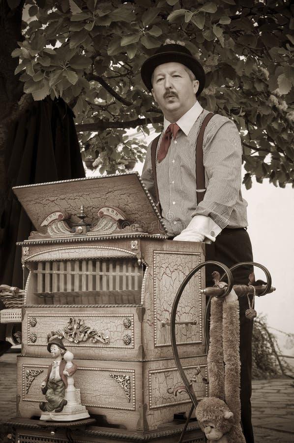 Drehorgel-Musiker, Spieler lizenzfreies stockbild