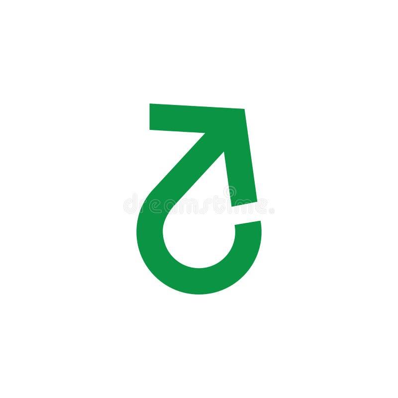 Drehung u drehen geometrische Linie einfachen Logovektor des Pfeiles stock abbildung