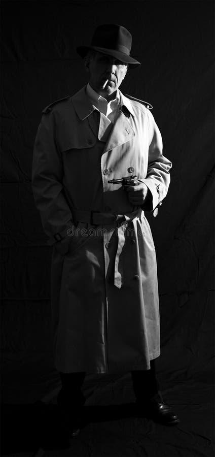 Dreißiger Jahre oder Vierziger-Weinlese-Retrostil-privater Detektiv Man stockfotografie