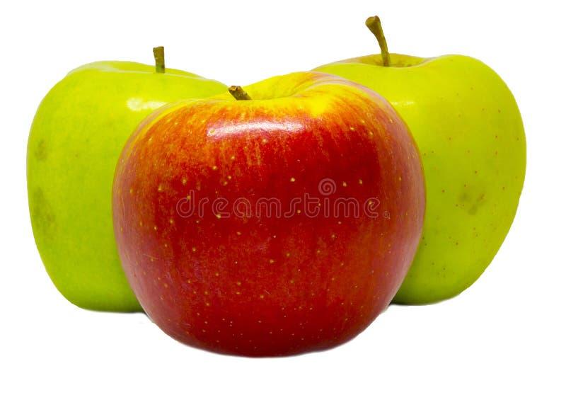 Drei Äpfel auf einem weißen Hintergrund lizenzfreie stockfotos