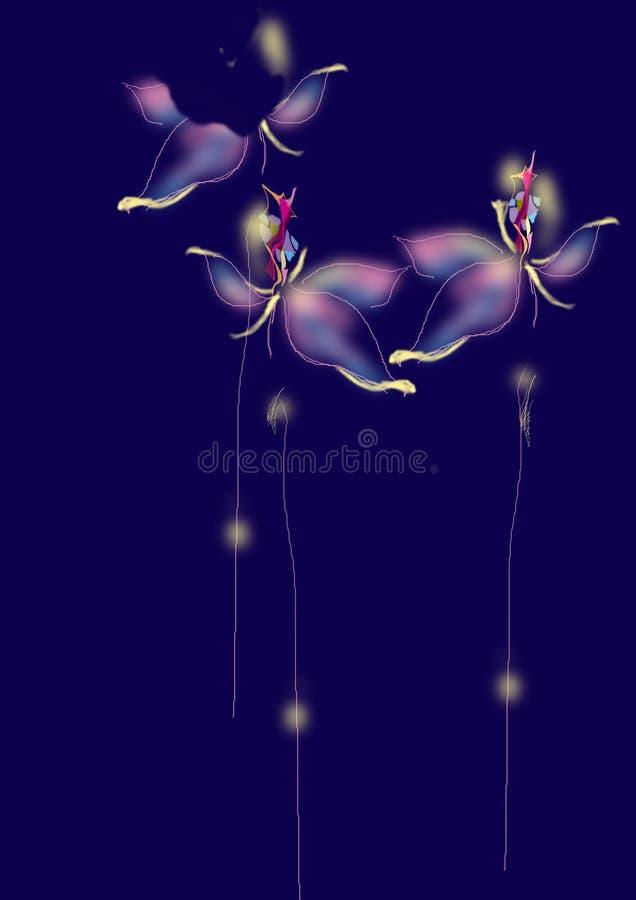 Drei abstrakte Blumen über einem blauen Hintergrund stockbilder