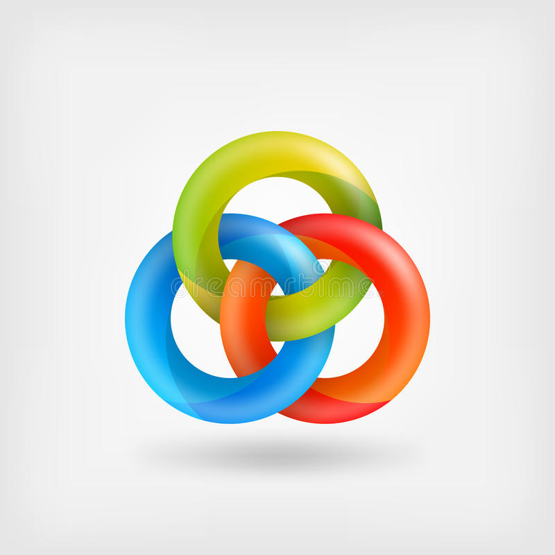 Drei abstrakte Ineinander greifenringe lizenzfreie abbildung