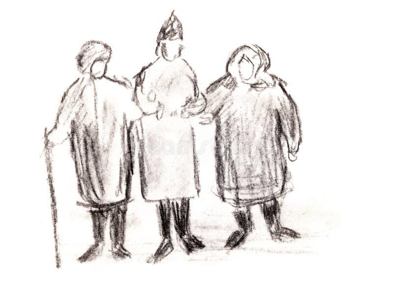 Drei alte Frauen lizenzfreie abbildung