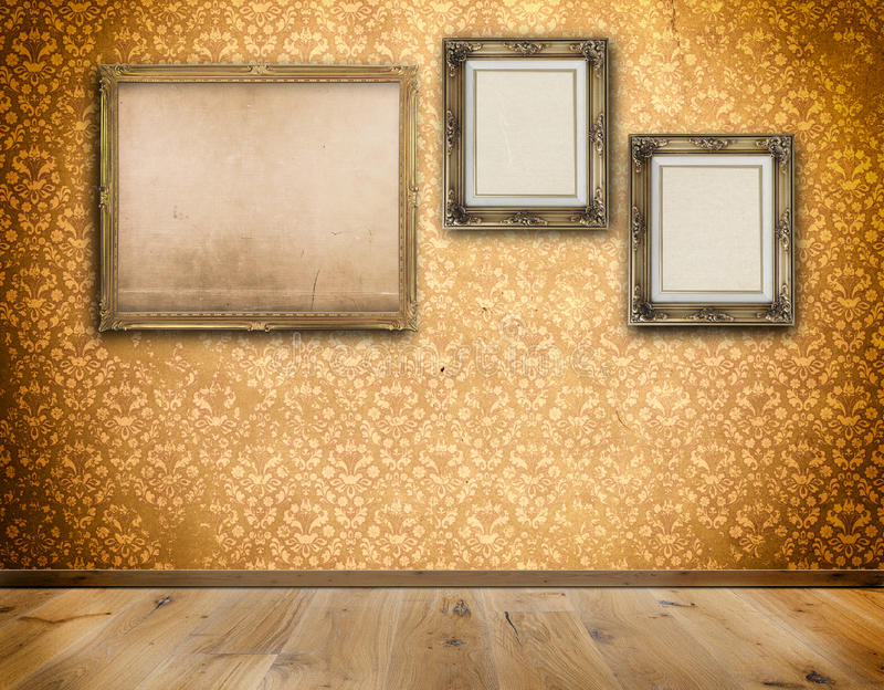 Drei Altmodische Rahmen Auf Wand Stock Abbildung - Illustration von ...