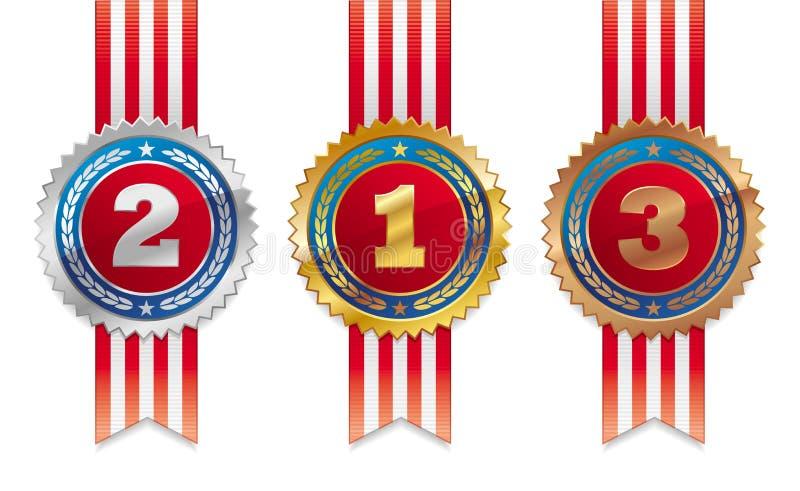 Drei Amerikanermedaillen - Gold, Silber und Bronze lizenzfreie abbildung