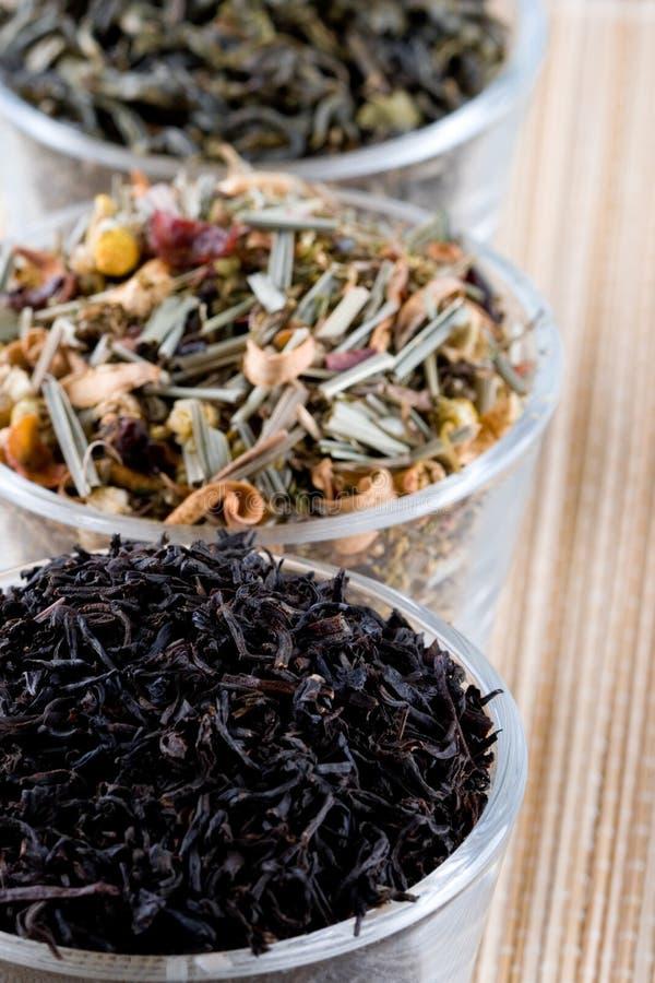 Drei Arten trockener Tee in den Gläsern stockfotografie