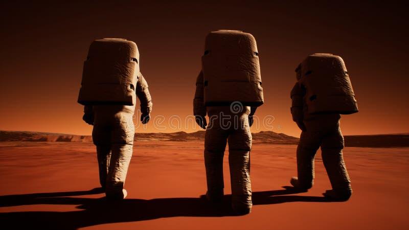 Drei Astronauten in den Spacesuits gehen sicher auf Mars auf der Suche nach dem Leben Wiedergabe 3d lizenzfreie abbildung