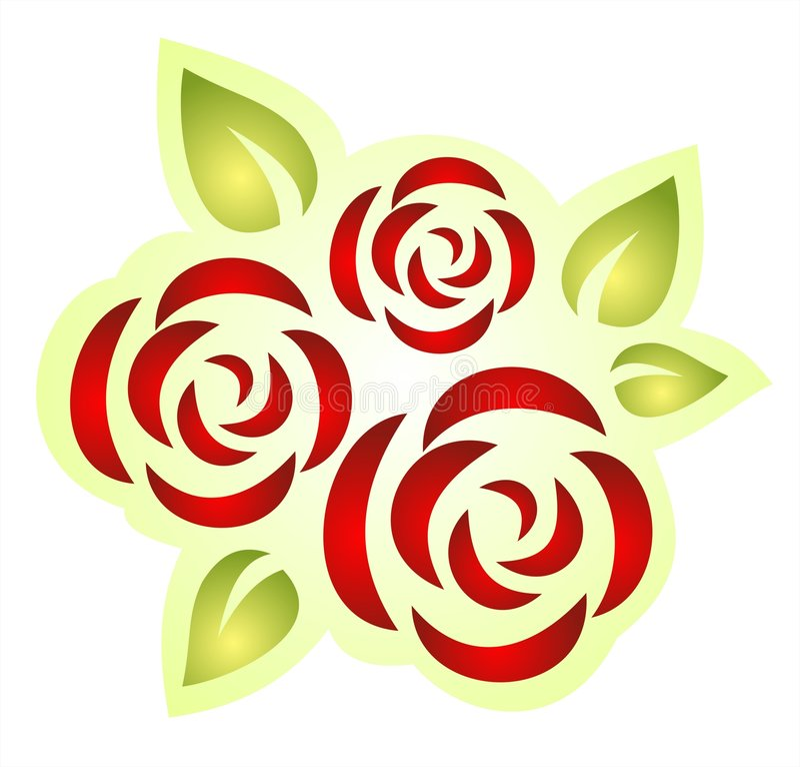 Drei aufwändige Rosen stock abbildung