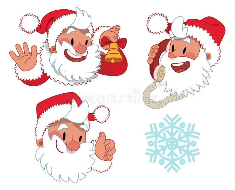 Drei Ausdrücke von Santa Claus-Charakter vektor abbildung