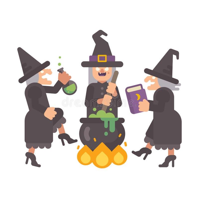 Drei böse alte Hexen, die einen Trank brauen lizenzfreie abbildung