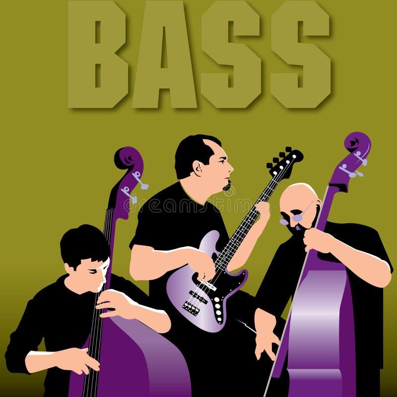 Drei Bass Players Laying Down eine Nut vektor abbildung