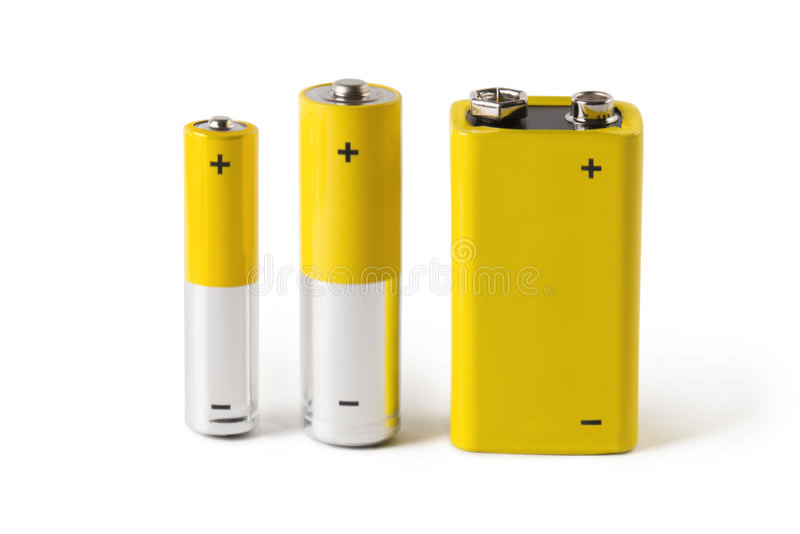 Drei Batterien, lokalisiert auf weißem Hintergrund stockbilder