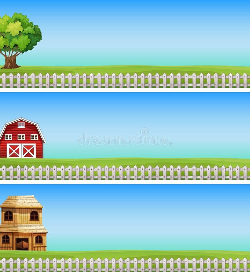 Drei Bauernhofszenen mit grünem Feld und weißem Zaun lizenzfreie abbildung