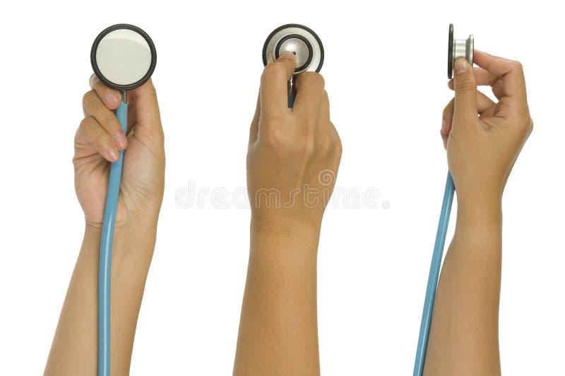 Drei Bilder des Handholding-Stethoskops lizenzfreies stockfoto