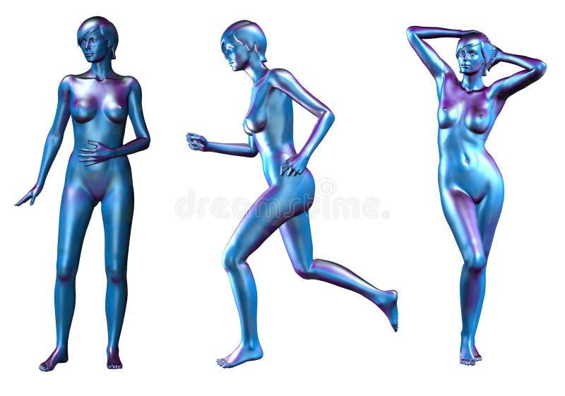 Drei Blaue Metallische Nackte Frauen Lizenzfreies Stockfoto