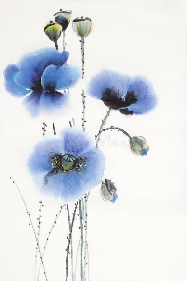 Drei blaue Mohnblumen vektor abbildung