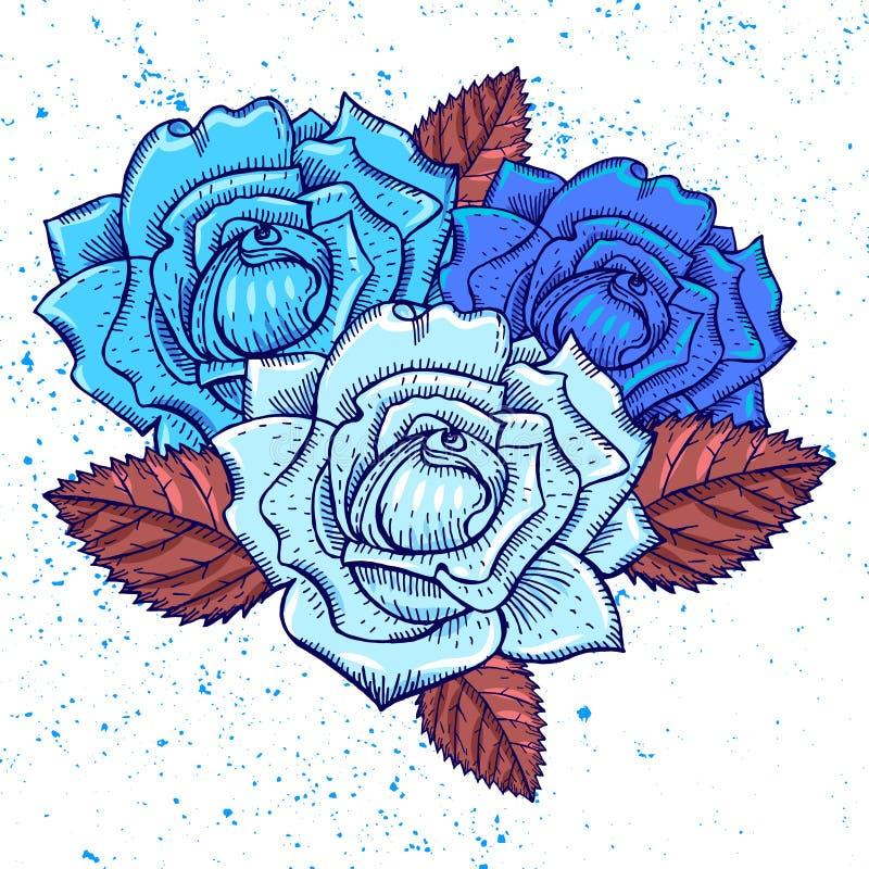 drei blaue rosen grafische kunst vektor abbildung illustration von betrieb abbildung 77289134. Black Bedroom Furniture Sets. Home Design Ideas