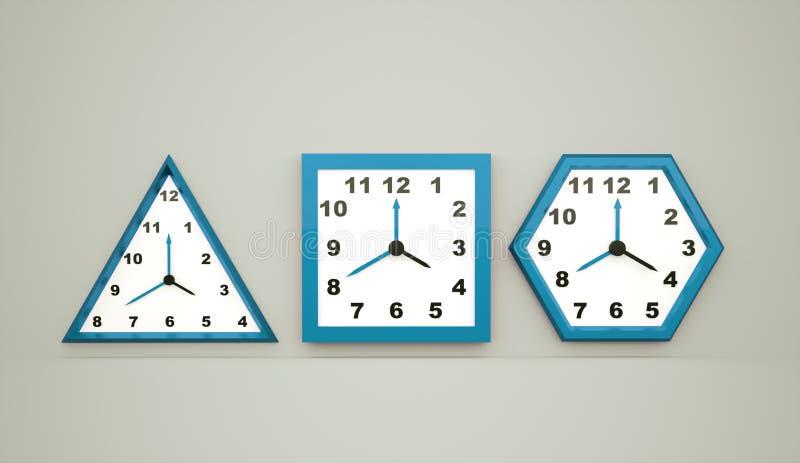 Drei blaue Uhren lizenzfreie abbildung