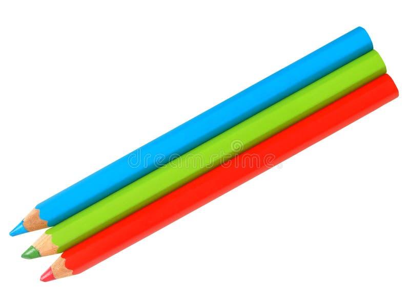 Drei Bleistifte auf Weiß lizenzfreie stockfotos