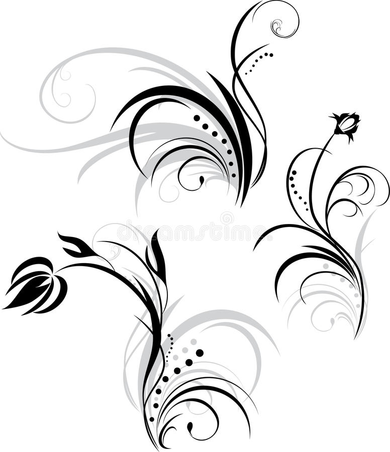 Drei Blumenelemente für Auslegung lizenzfreie abbildung