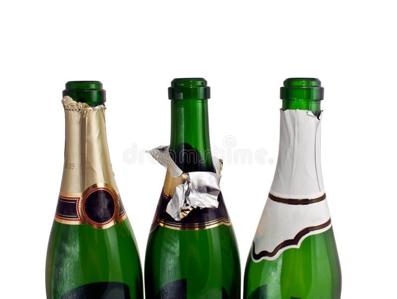 Drei Champagnerflaschen stockbild