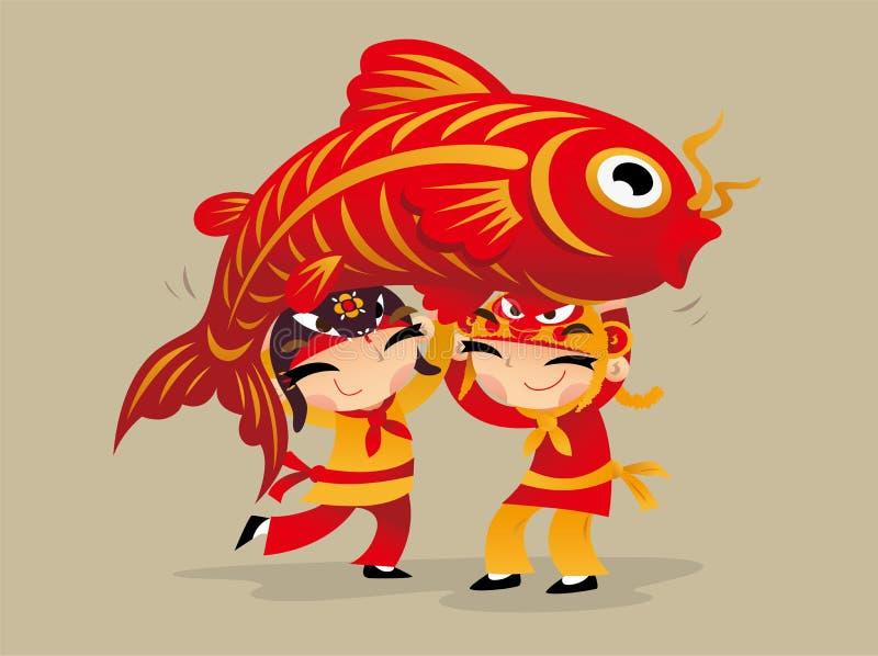 Drei chinesische Kinder, die Drachen spielen, tanzen, um das Kommen des Chinesischen Neujahrsfests zu feiern stock abbildung