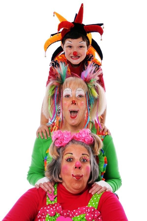 Drei Clowne stockbild