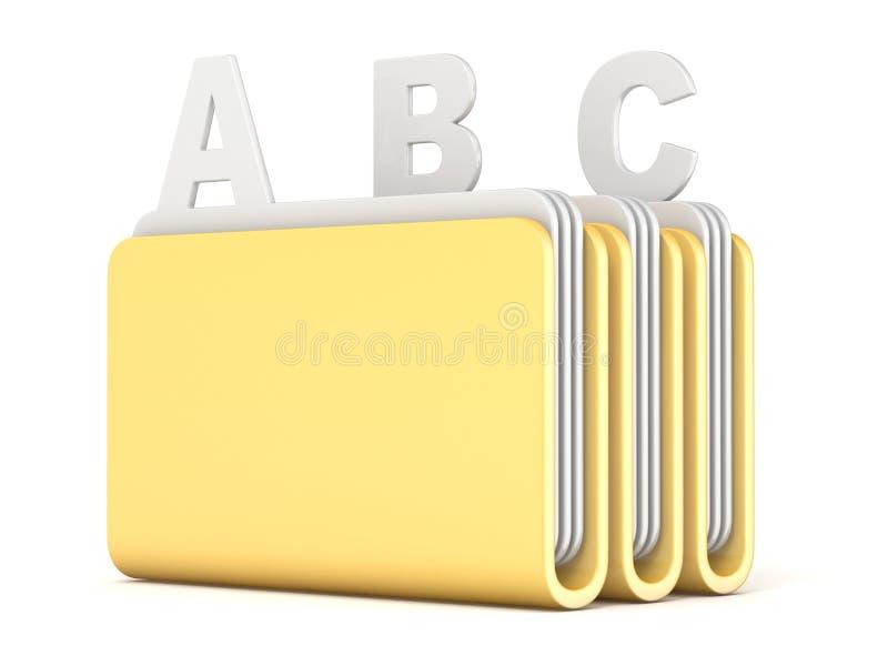Drei Computerordner mit ABC archiviert 3D stock abbildung